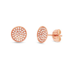 0.19ct 14k Rose Gold Diamond Pave Stud Earring