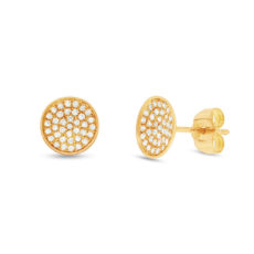 0.19ct 14k Yellow Gold Diamond Pave Stud Earring