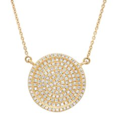 0.47ct 14k Yellow Gold Diamond Pave Circle Necklace
