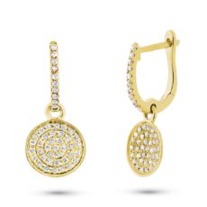 0.24ct 14k Yellow Gold Diamond Pave Earring