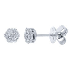 0.33ct 18k White Gold Diamond Cluster Stud Earring