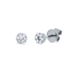 0.24ct 18k White Gold Diamond Cluster Stud Earring