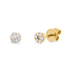 0.24ct 18k Yellow Gold Diamond Cluster Stud Earring