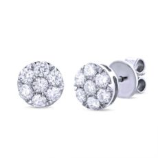 1.00ct 18k White Gold Diamond Cluster Stud Earring