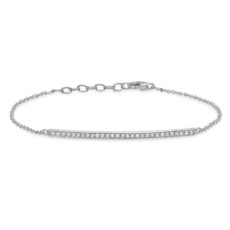 0.17ct 14k White Gold Diamond Bar Bracelet