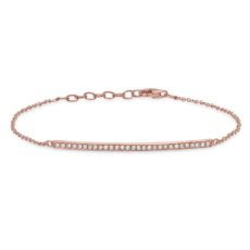 0.17ct 14k Rose Gold Diamond Bar Bracelet