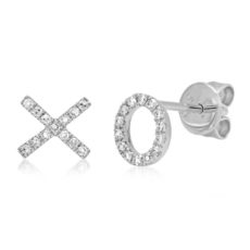 "0.09ct 14k White Gold Diamond ""XO"" Stud Earring"