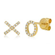 "0.09ct 14k Yellow Gold Diamond ""XO"" Stud Earring"