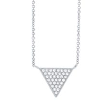 0.07ct 14k White Gold Diamond Pave Triangle Necklace
