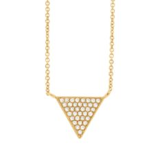 0.07ct 14k Yellow Gold Diamond Pave Triangle Necklace