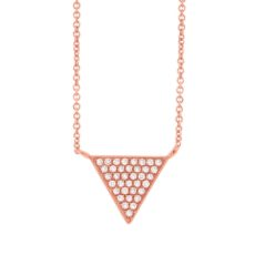 0.07ct 14k Rose Gold Diamond Pave Triangle Necklace