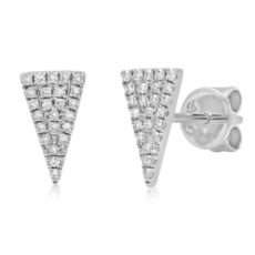 0.12ct 14k White Gold Diamond Pave Triangle Earring
