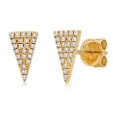 0.12ct 14k Yellow Gold Diamond Pave Triangle Earring
