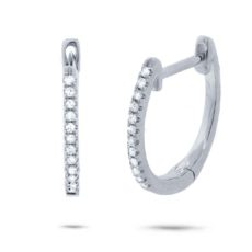 0.08ct 14k White Gold Diamond Huggie Earring