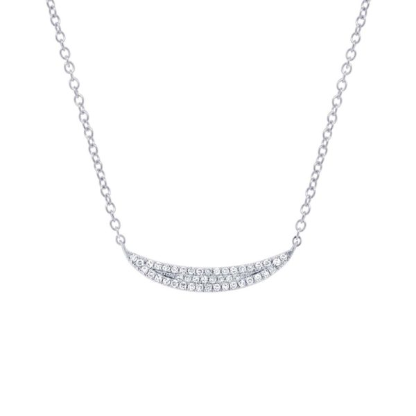 0.11ct 14k White Gold Diamond Pave Crescent Necklace