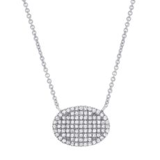 0.21ct 14k White Gold Diamond Pave Necklace