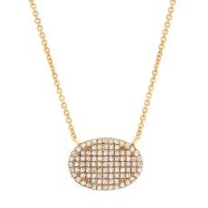 0.21ct 14k Yellow Gold Diamond Pave Necklace