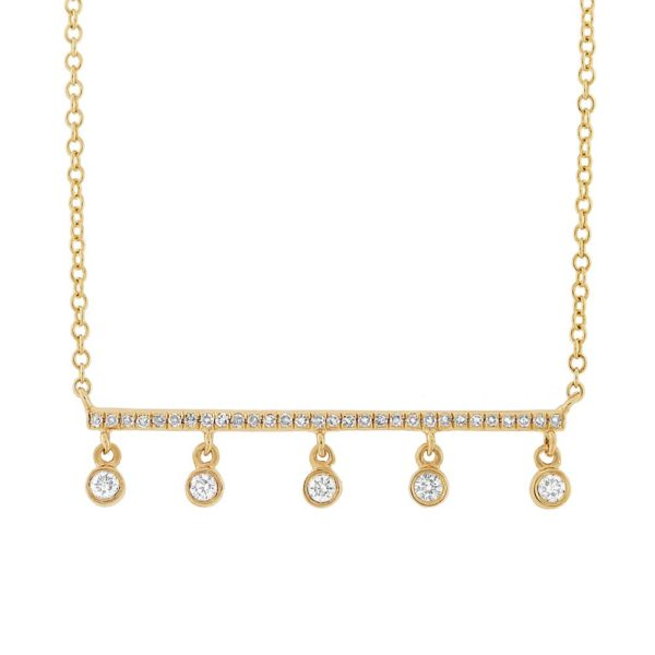0.18ct 14k Yellow Gold Diamond Bar Necklace